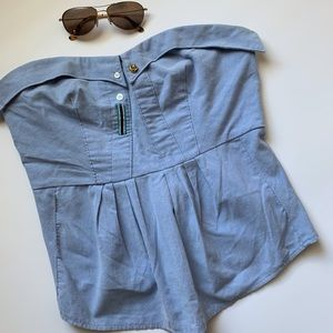 Anthropologie Chambray Strapless Top